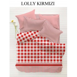 Lenjerie Single Home Berry Lolly Kirmizi